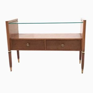 Italian Walnut Nightstand with a Glass Top, 1940s