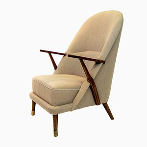 Mid-Century Beige Lounge Chair
