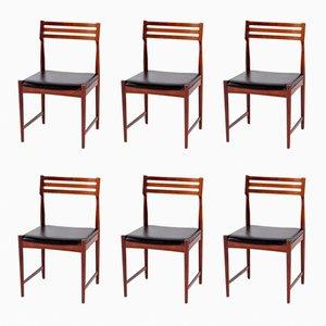 Chaises de Salon en Palissandre et Cuir par Severin Hansen pour Bovenkamp, 1960s, Set de 6