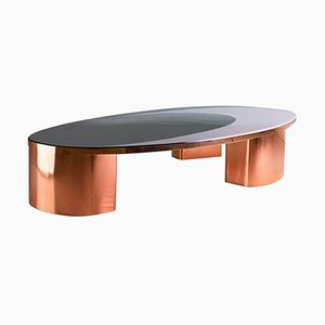 Tavolino da caffè ovale modello 1969 in rame e resina di Privatiselectionem