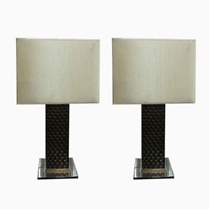 Vintage Chrome and Carved Wood Lamps, Set of 2