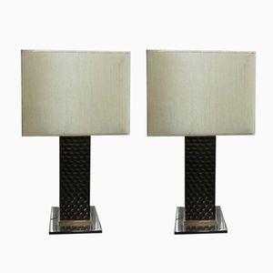 Vintage Lampen aus Chrom & Geschnitztem Holz, 2er Set