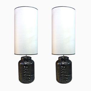 Lampes Mid-Century Noires et Verre Argenté, Set de 2