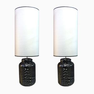 Mid-Century Black & Silver Glass Lamps, Set of 2
