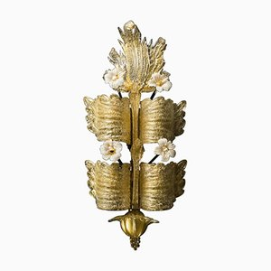 Tiered Pale Gold Murano Sconce from Barovier e Toso, 1930s