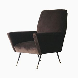 Armchair in Brown Cotton Velvet, 1950s