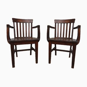 Oak Armchairs, 1920s, Set of 2