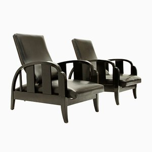 Art Deco Black Leather Armchairs, 1930s, Set of 2