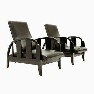 Art Deco Black Leather Armchairs, 1930s, Set of 2