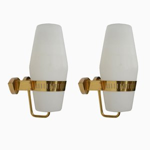 Vintage Brass and Opaline Glass Wall Lights from Stilnovo, Set of 2