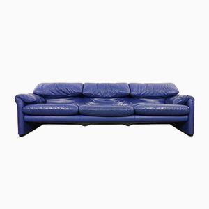 Blaues Maralunga 3-Sitzer Ledersofa Set von Vico Magistretti für Cassina, 1980er