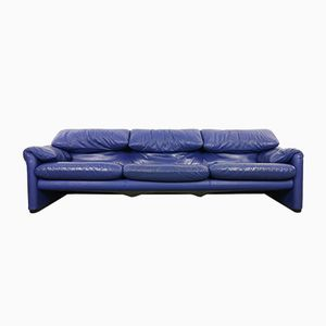 Blue Leather Maralunga 3-Seater Sofa by Vico Magistretti for Cassina, 1980s