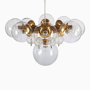 Large Brass Chandelier with Crystal Globes from Kamenicky Senov, 1960s