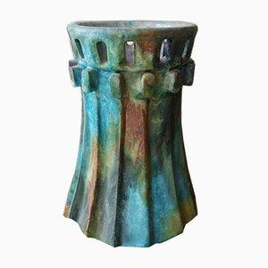 Jarrón Mid-Century en tonos verdes, azules y marrones de Alvino Bagni para Bagni Ceramiche