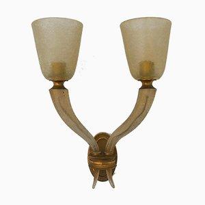 Lámpara de pared grande de latón y vidrio de Corroso de Seguso, años 40