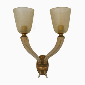 Large Wall Lamp in Corroso Glass & Brass from Seguso, 1940s