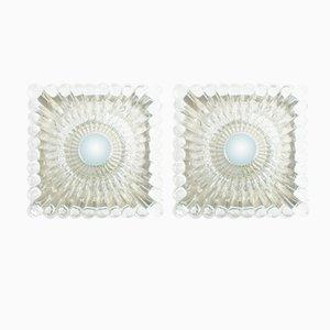 Apliques vintage de vidrio transparente pesado, años 60. Juego de 2