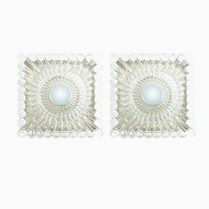 Vintage Heavy Clear Glass Sconces, 1960s, Set of 2