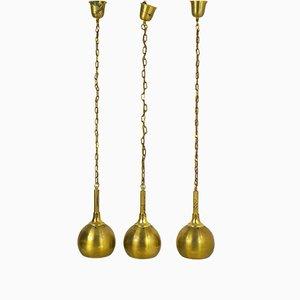 Lámparas colgantes de latón, años 40. Juego de 3