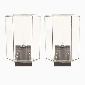 Glass Wall Lamps from Limburg, 1970s, Set of 2