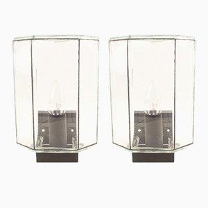 Lámparas de pared de vidrio de Limburg, años 70. Juego de 2