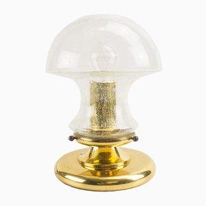 Lámpara de mesa de vidrio y latón de Baum Leuchten, años 60