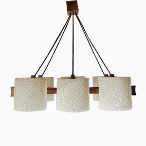 Lámpara de techo de teca y plexiglás, años 60