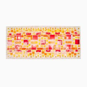 Lámpara de pared grande de hormigón de colores y vidrio teñido, años 60