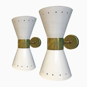 Applique vintage regolabile in metallo ed ottone, set di 2