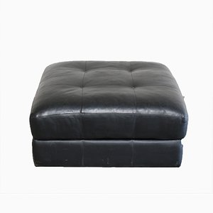 Vintage DS 88 Black Leather Pouf from de Sede