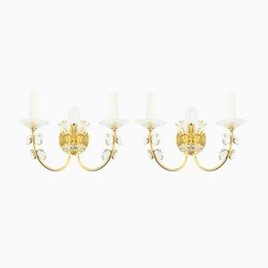 Apliques de cristal dorados, años 60. Juego de 2