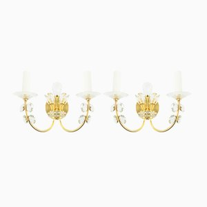 Golden Crystal Sconces, 1960s, Set of 2
