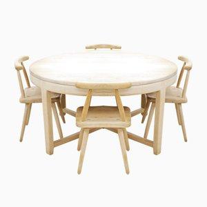 Tavolo da pranzo e 4 sedie Arts & Crafts Mid-Century in quercia