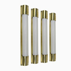 Art Deco Brass Wall Lights, Set of 4