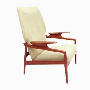 Danish Reclining Teak & Wool Lounge Chair, 1960s