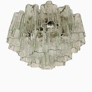 Dreistufige Murano Glas Deckenlampe von Venini, 1960er