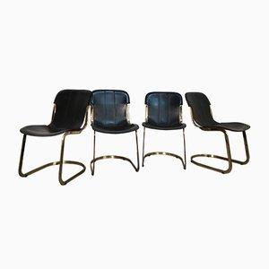 Chaises de Salon en Laiton et Cuir Noir par Willy Rizzo pour Cidue, 1970s, Set de 4