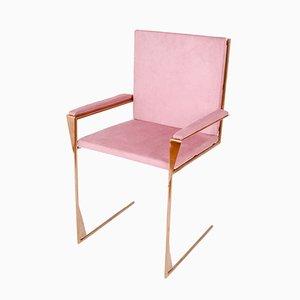 Frame Chair en Cuivre et Velours de Coton par COSE