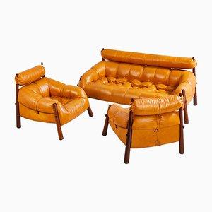 Vintage Sitzgruppe aus Leder von Percival Lafer