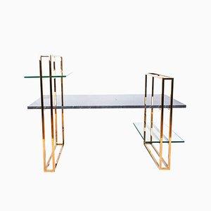 Table Basse Attached en Marbre avec une Structure en Cuivre par Cose