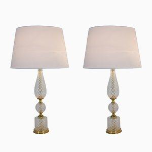 Lámparas de mesa de vidrio texturizado y latón, años 60. Juego de 2