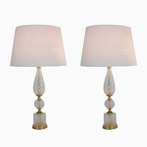 Textured Glass and Brass Table Lamps, 1960s, Set of 2