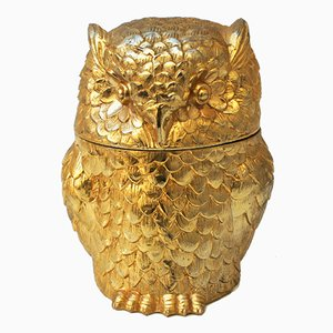 Italian Gold Owl Ice Bucket by Mauro Manetti for Fonderia d'Arte, 1960s