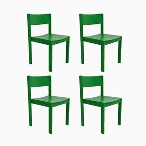 Grüne Mid-Century Esszimmerstühle von E. & A. Pollak, 4er Set