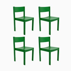 Mid-Century Green Dining Chairs from E. & A. Pollak, Set of 4