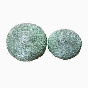 Lampade da tavolo sferiche vintage in vetro, set di 2