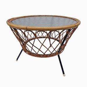 Table Basse Vintage en Osier et Verre