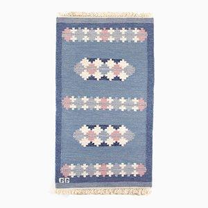 Swedish Hand Woven Woolen Rolakan Rug, 1970s