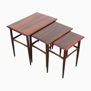 Tavolini a incastro in palissandro brasiliano di Poul Hundevad, Scandinavia, anni '60