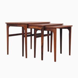 Tavolini a incastro Mid-Century moderni in palissandro brasiliano, Scandinavia, anni '60
